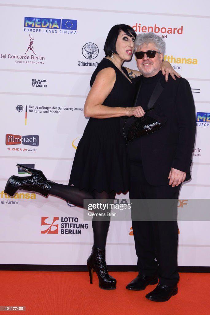 Pedro Almodovar (R) and Rossi de Palma attend the European Film Awards 2013 on December 7, 2013 in Berlin, Germany.