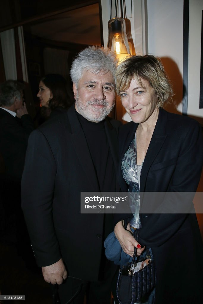 Pedro Almodovar and Valeria Bruni Tedeschi attend the Cesar's Dinner at Le Fouquet's on February 24, 2017 in Paris, France.