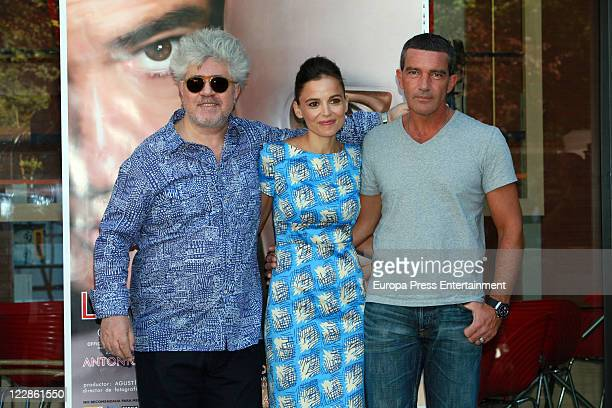 Pedro Almodovar Elena Anaya and Antonio Banderas attend the 'The Skin I Live In' photocall 'The Skin I Live In' Photocall at Casa de America on...