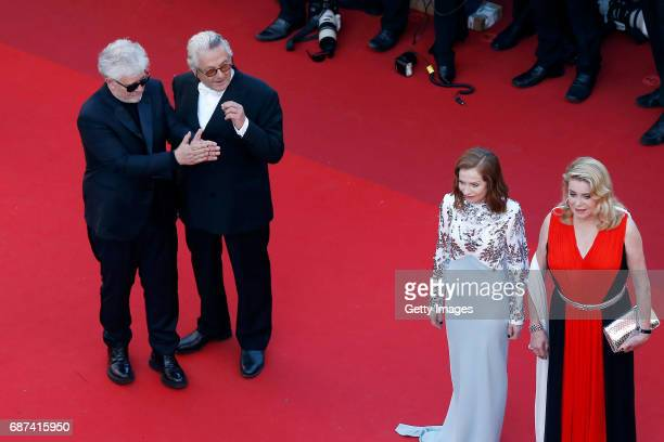 Pedro Almodovar George Miller Isabelle Huppert and Catherine Deneuve attend the 70th Anniversary of the 70th annual Cannes Film Festival at Palais...
