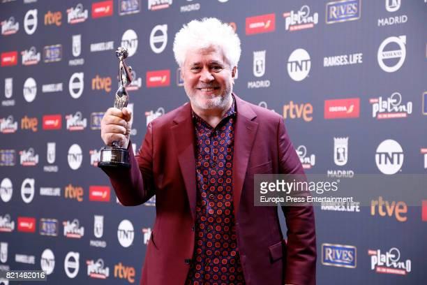 Pedro Almodovar is seen at Platino Awards winners press room at La Caja Magica on July 22 2017 in Madrid Spain