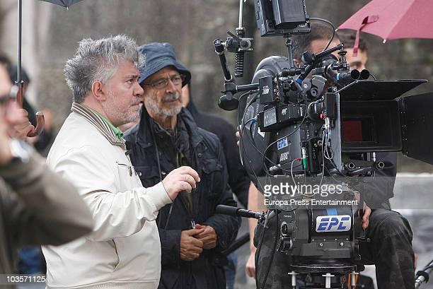 Pedro Almodovar is seen sighting at shooting of 'la piel que habito' on August 23 2010 in Santiago de Compostela Spain