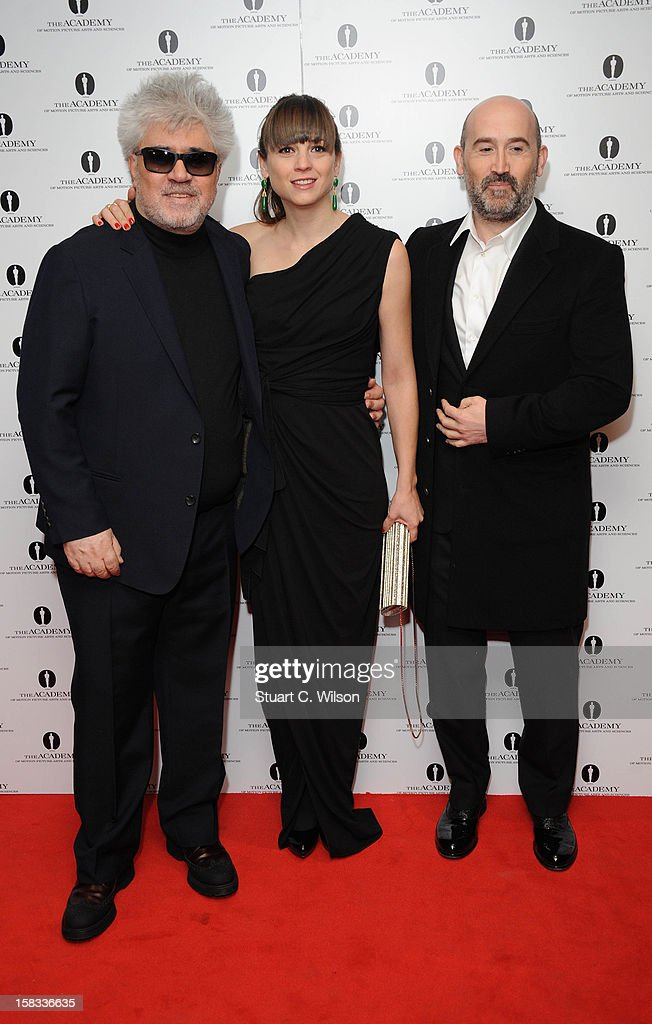 Pedro Almodovar, Leonor Watling and Javier Camara attend as The Academy of Motion Picture Arts and Sciences honours director Pedro Almodovar at Curzon Soho on December 13, 2012 in London, England.