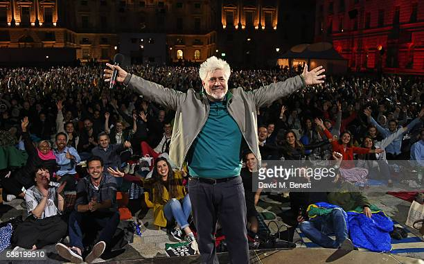 Pedro Almodovar poses in front of the audience at the UK film premiere of 'Julieta' part of the Film4 Summer Series at Somerset House on August 10...