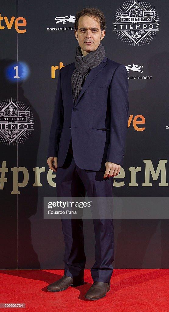 Pedro Alonso attends 'El Ministerio del Tiempo' second season premiere at Capitol cinema on February 11, 2016 in Madrid, Spain.