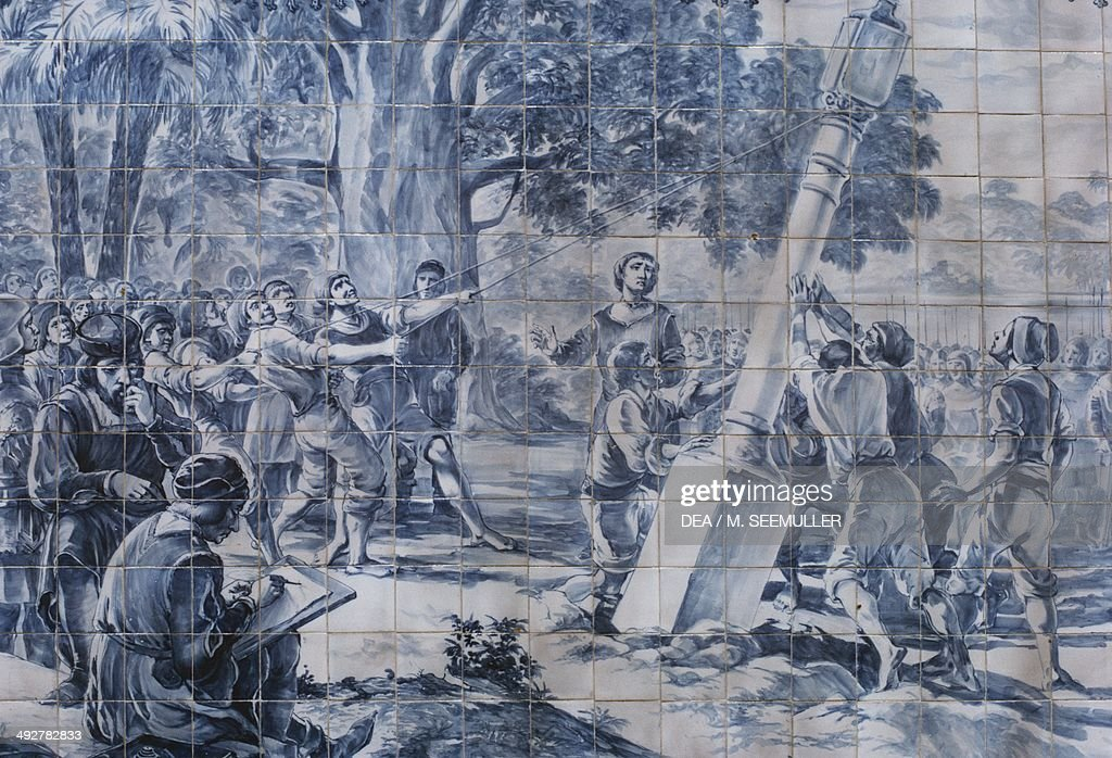 Pedro Alvares Cabral (1467-1520) arriving in Brazil in April of 1500, Azulejos, Portugal.