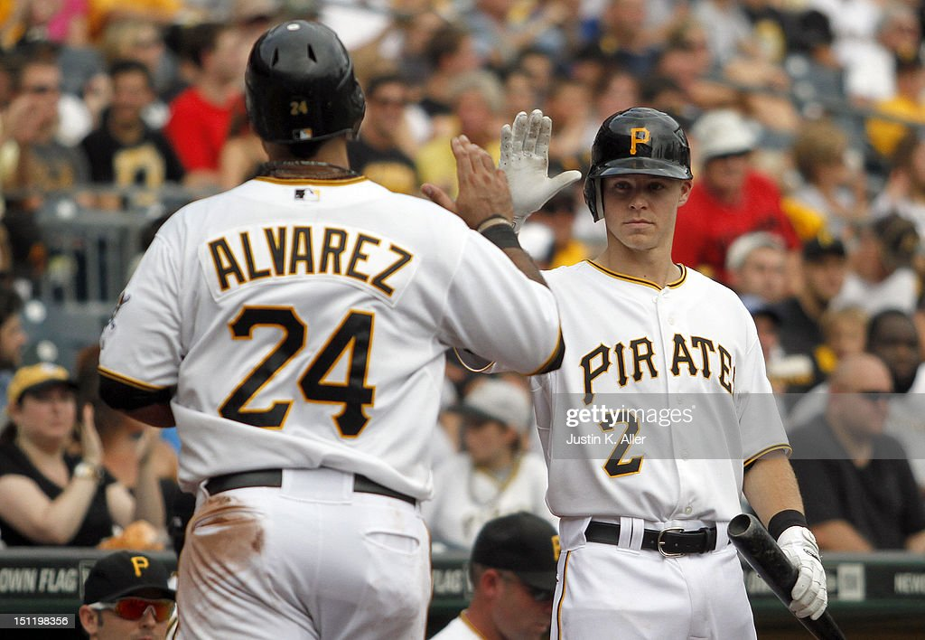 Pedro Alvarez #24 celebrates with Brock Holt #2 of the Pittsburgh Pirates after scoring on an RBI single in the fifth inning against the Houston Astros during the game on September 3, 2012 at PNC Park in Pittsburgh, Pennsylvania.