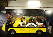 Pedro Alvarez Gregory Polanco and Starling Marte of the Pittsburgh Pirates talk with Carlos Santana of the Cleveland Indians in the hallway during a...