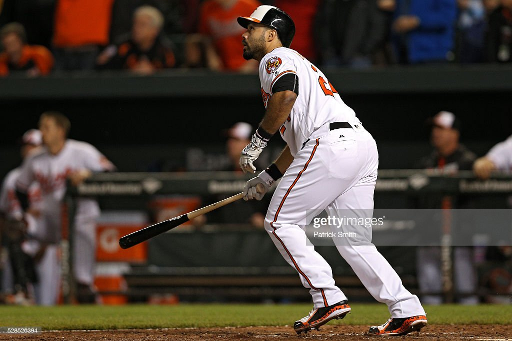 Pedro Alvarez #24 of the Baltimore Orioles hits a sacrifice RBI against the New York Yankees in the tenth inning at Oriole Park at Camden Yards on May 5, 2016 in Baltimore, Maryland. The Baltimore Orioles won, 1-0, in the tenth inning.