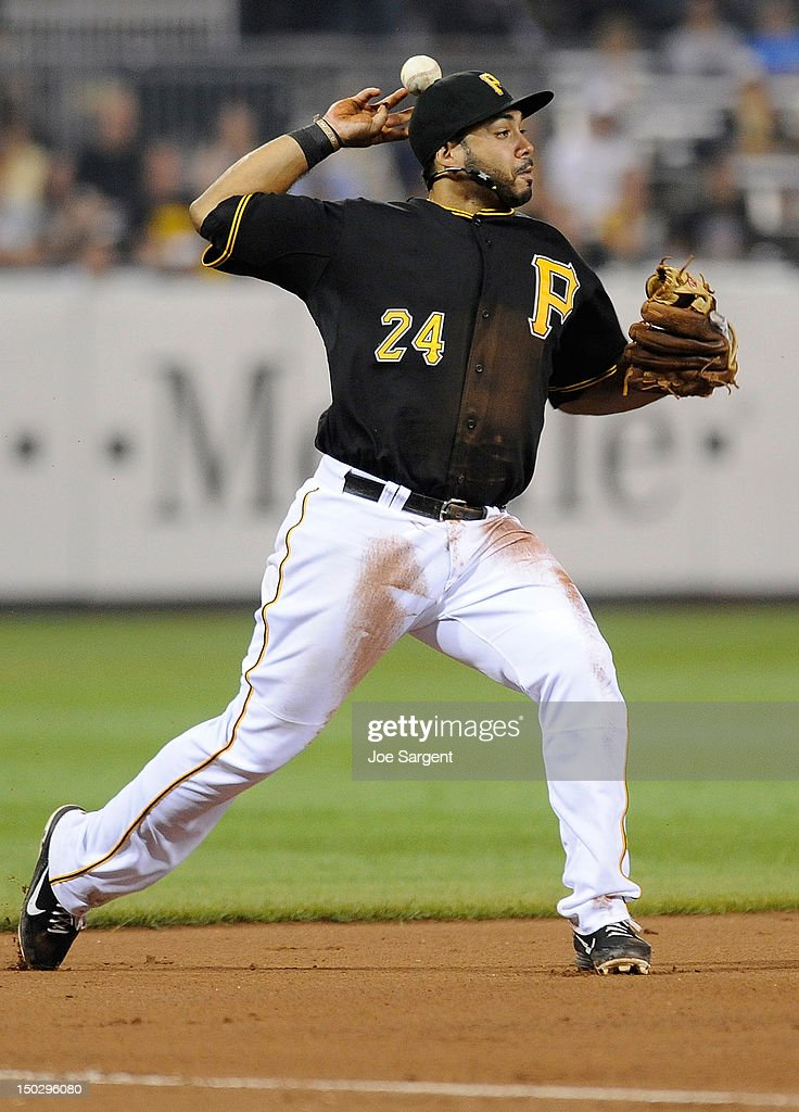 Pedro Alvarez #24 of the Pittsburgh Pirates bobbles the ball while attempting a throw to first during the game against the Los Angeles Dodgers on August 14, 2012 at PNC Park in Pittsburgh, Pennsylvania. Los Angeles won the game 11-0.
