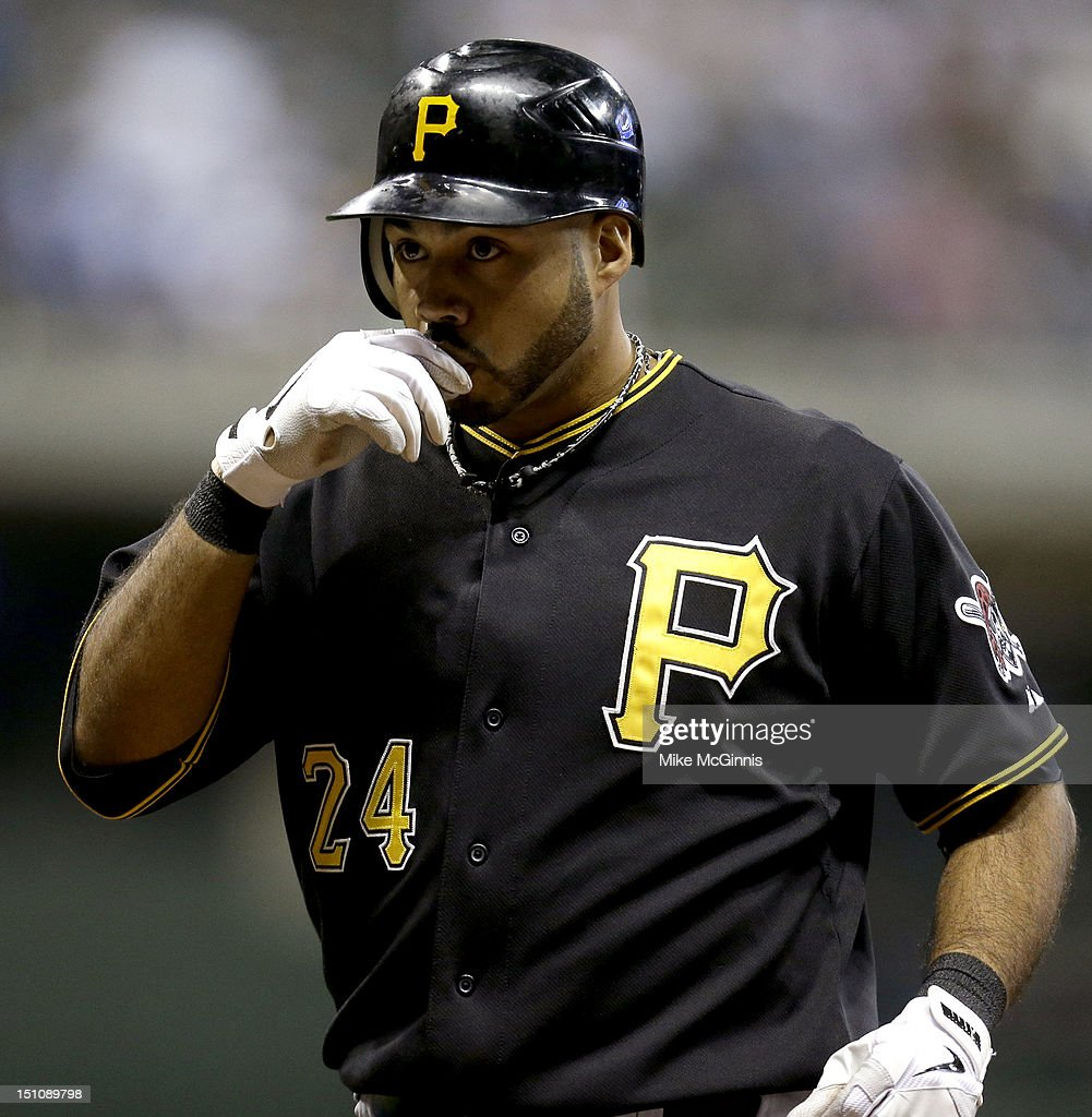 Pedro Alvarez #24 of the Pittsburgh Pirates celebrates after hitting a single in the top of the fourth inning against the Milwaukee Brewers at Miller Park on August 31, 2012 in Milwaukee, Wisconsin.