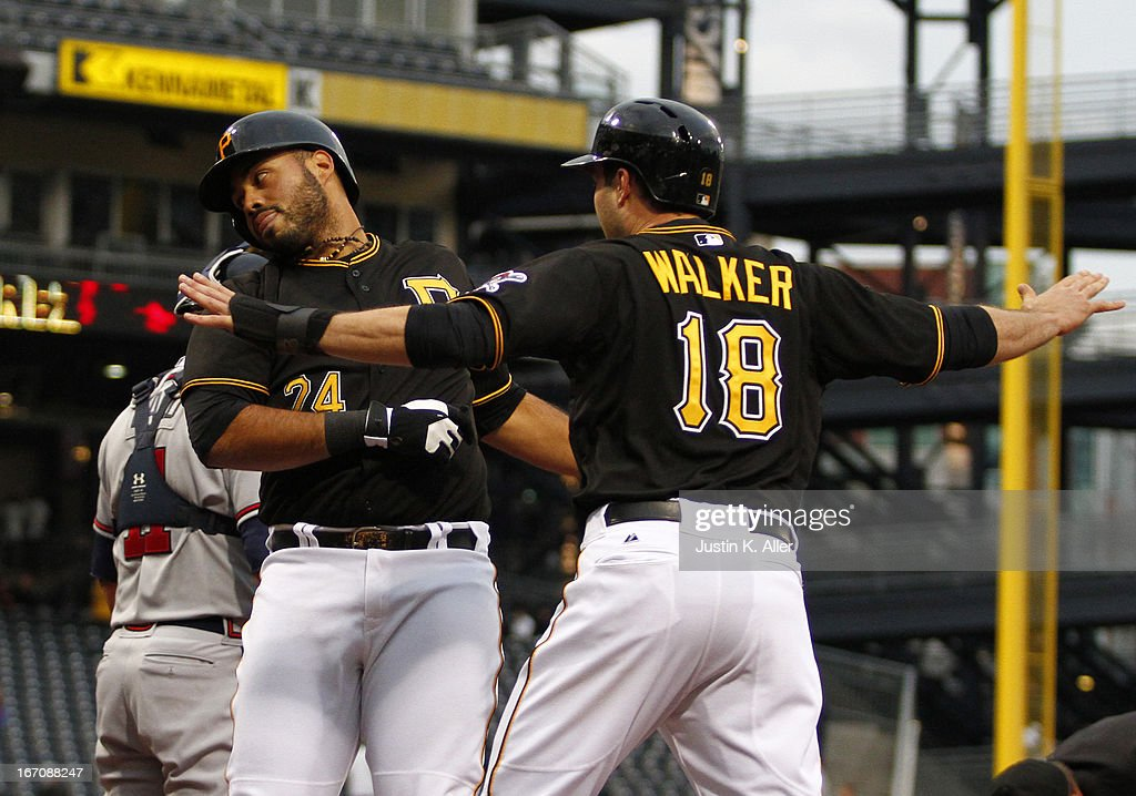 Pedro Alvarez #24 of the Pittsburgh Pirates celebrates after hitting a two run home run in the second inning against the Atlanta Braves during the game on April 19, 2013 at PNC Park in Pittsburgh, Pennsylvania.