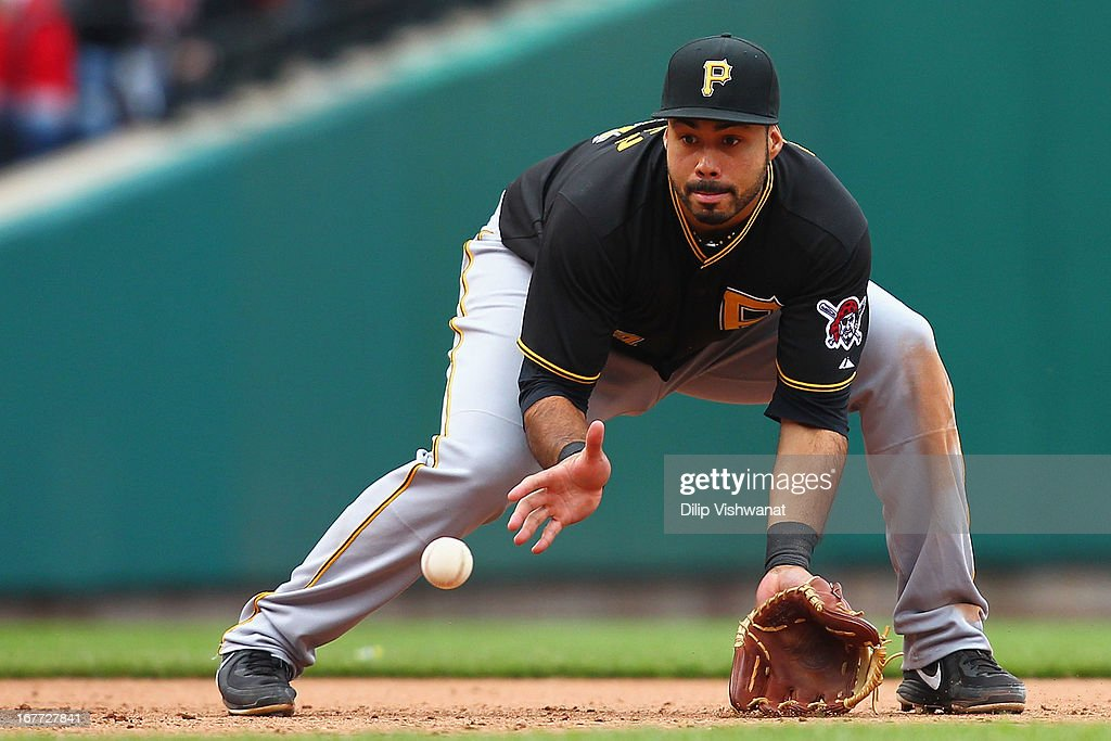 Pedro Alvarez #24 of the Pittsburgh Pirates fields a ground ball against the St. Louis Cardinals at Busch Stadium on April 28, 2013 in St. Louis, Missouri. The Pirates beat the Cardinals 9-0.