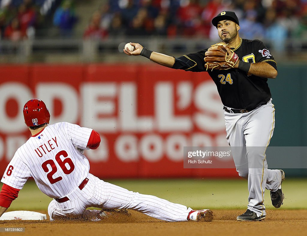Pedro Alvarez #24 of the Pittsburgh Pirates gets the force out on <a gi-track='captionPersonalityLinkClicked' href=/galleries/search?phrase=Chase+Utley&family=editorial&specificpeople=161391 ng-click='$event.stopPropagation()'>Chase Utley</a> #26 of the Philadelphia Phillies and throws to first base to get Ryan Howard #6 to complete the double play ending the seventh inning in a MLB baseball game on April 22, 2013 at Citizens Bank Park in Philadelphia, Pennsylvania.