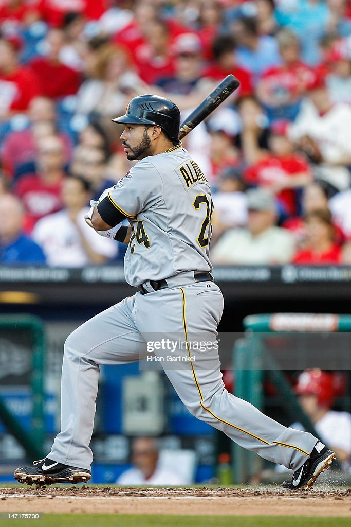 Pedro Alvarez #24 of the Pittsburgh Pirates hits a double in the second inning of the game against the Philadelphia Phillies at Citizens Bank Park on June 26, 2012 in Philadelphia, Pennsylvania.