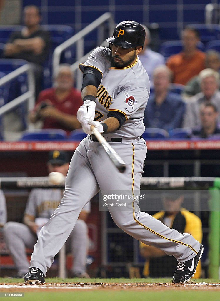 Pedro Alvarez #24 of the Pittsburgh Pirates hits during a game against the Miami Marlins at Marlins Park on May 14, 2012 in Miami, Florida. The Pirates defeated the Marlins 3-2.