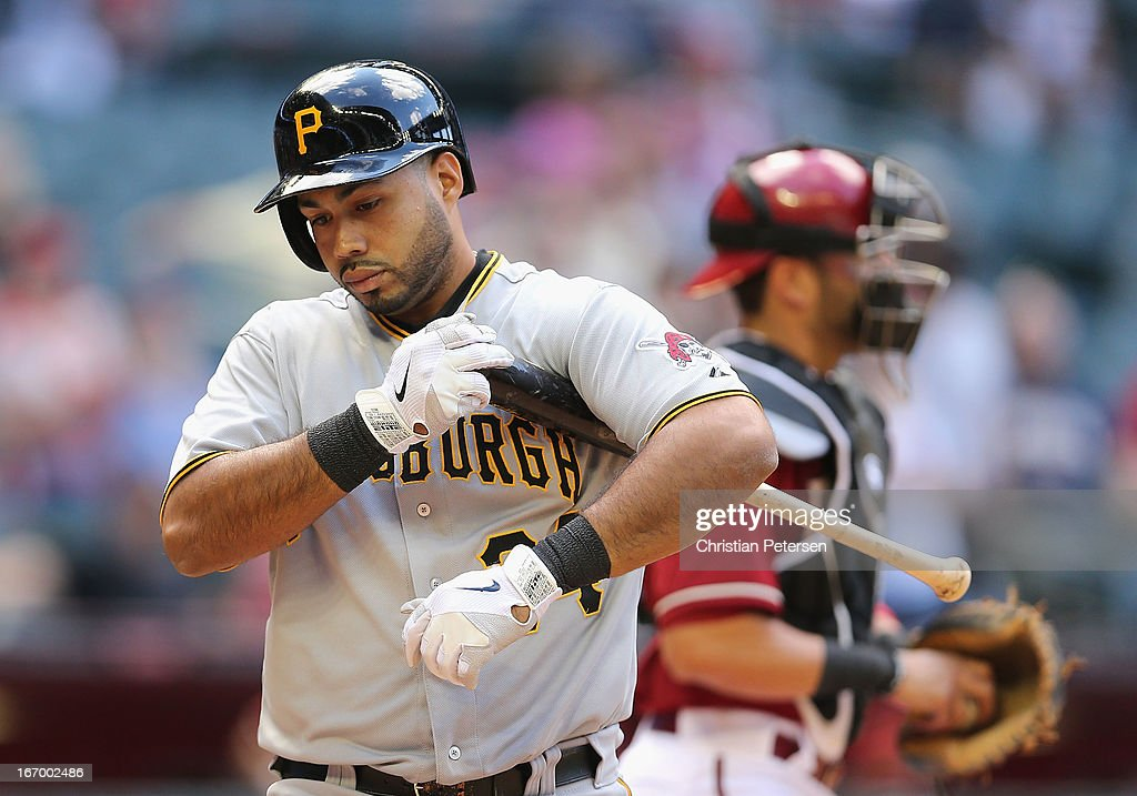Pedro Alvarez #24 of the Pittsburgh Pirates reacts after a stike out against the Arizona Diamondbacks during the MLB game at Chase Field on April 10, 2013 in Phoenix, Arizona. The Diamondbacks defeated the Pirates 10-2.