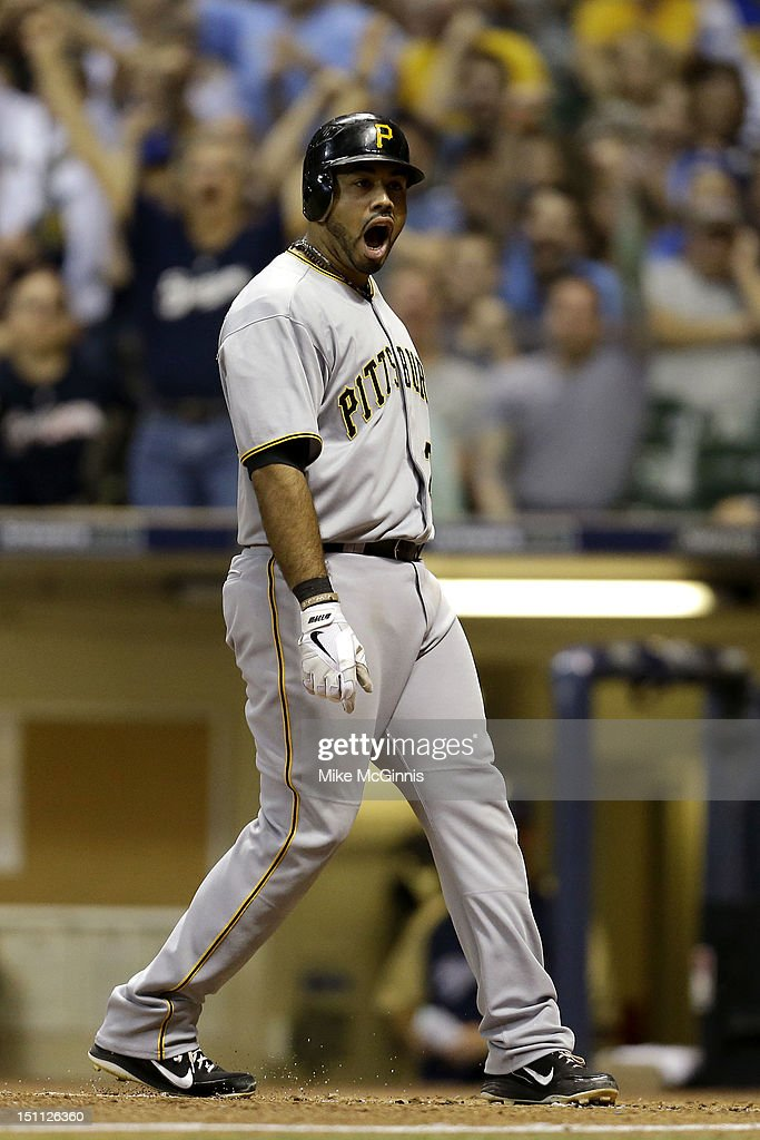 Pedro Alvarez #24 of the Pittsburgh Pirates reacts after getting called out on strike three during the top of the 6th inning against the Milwaukee Brewers during the game at Miller Park on September 01, 2012 in Milwaukee, Wisconsin.