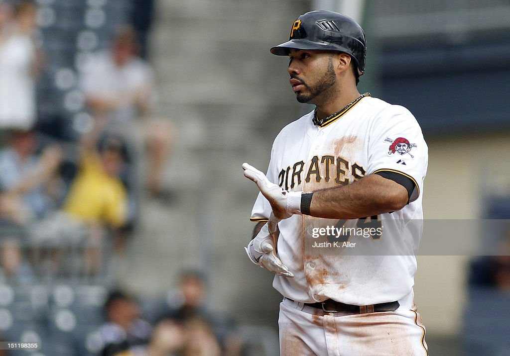 Pedro Alvarez #24 of the Pittsburgh Pirates reacts after hitting a triple in the fifth inning against the Houston Astros during the game on September 3, 2012 at PNC Park in Pittsburgh, Pennsylvania.