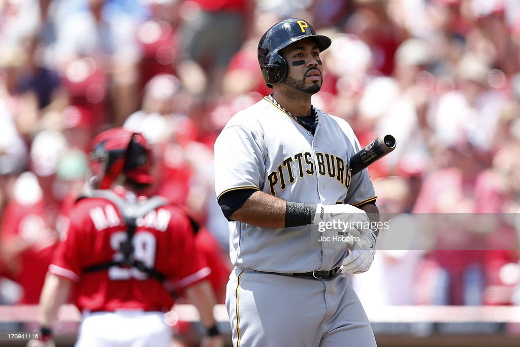 Pedro Alvarez #24 of the Pittsburgh Pirates reacts after striking out against the Cincinnati Reds during the game at Great American Ball Park on June 20, 2013 in Cincinnati, Ohio.
