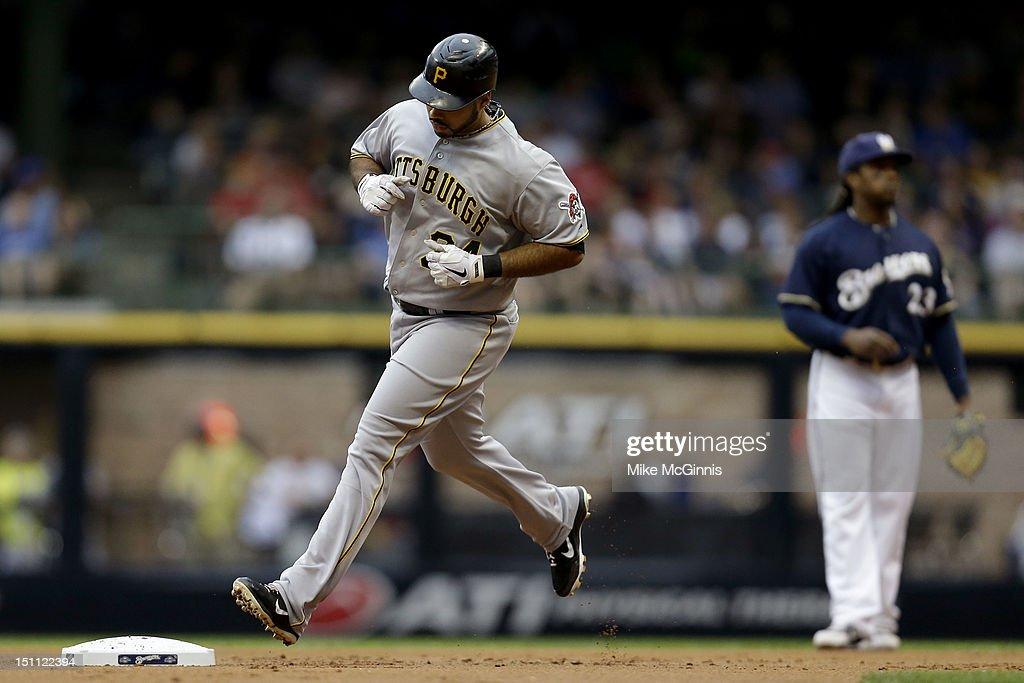 Pedro Alvarez #24 of the Pittsburgh Pirates rounds the bases after hitting a solo home run in the top of the 2nd inning against the Milwaukee Brewers at Miller Park on September 01, 2012 in Milwaukee, Wisconsin.