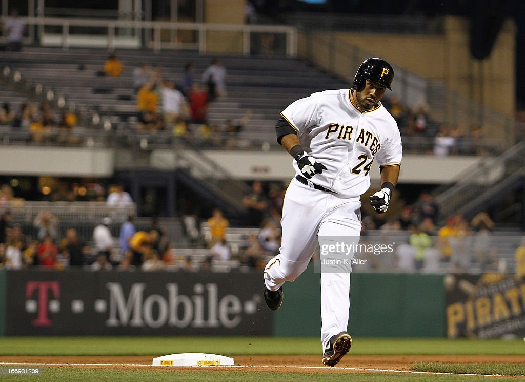 Pedro Alvarez #24 of the Pittsburgh Pirates rounds third after hitting a home run in the fourth inning against the Atlanta Braves on April 18, 2013 at PNC Park in Pittsburgh, Pennsylvania.