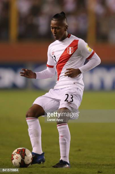 Pedro Aquino of Peru controls the ball during a match between Peru and Bolivia as part of FIFA 2018 World Cup Qualifiers at Monumental Stadium on...