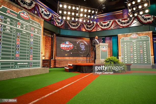 Pedro Astacio is seen during the 2013 FirstYear Player Draft at MLB Network's Studio 42 on June 6 2013 in Secaucus New Jersey