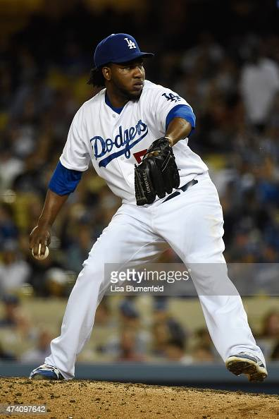 Pedro Baez of the Los Angeles Dodgers pitches against the San Francisco Giants at Dodger Stadium on April 28 2015 in Los Angeles California