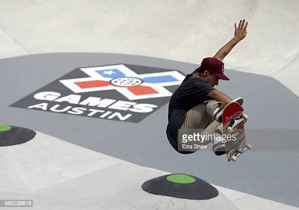 Pedro Barros of Brazil competes in round one of the Skateboard Park competition during the X Games Austin at Circuit of The Americas on June 7 2014...