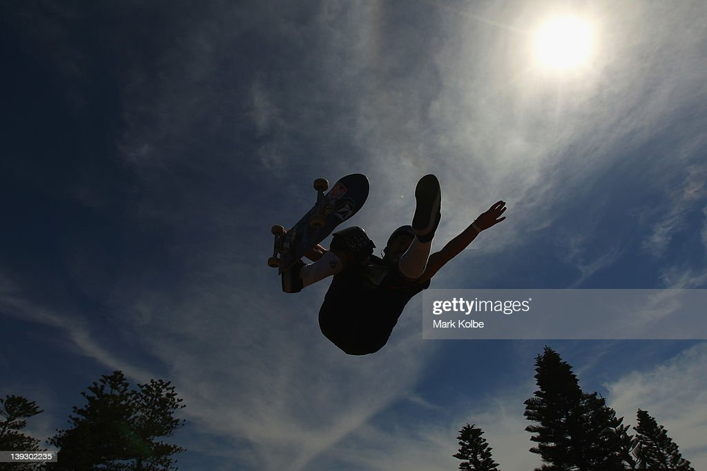 Pedro Barros of Brazil gets air at the Beach Bowl skateboarding competition during the 2012 Australian Surfing Open on February 19, 2012 in Manly, Australia.