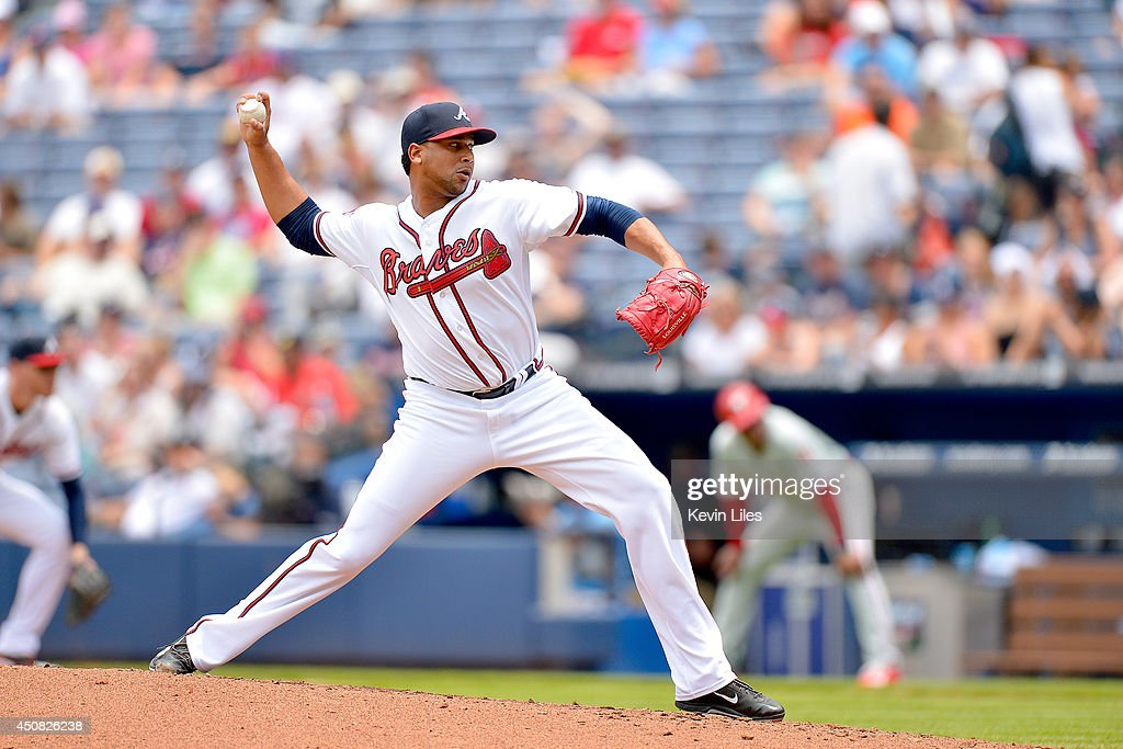 Pedro Beato of the Atlanta Braves pitches against the Philadelphia Phillies during the sixth inning at Turner Field on June 18 2014 in Atlanta...