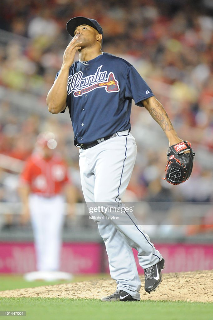 Pedro Beato of the Atlanta Braves pitches during a baseball game against the Washington Nationals on June 21 2014 at Natioanls Park in Washington DC...
