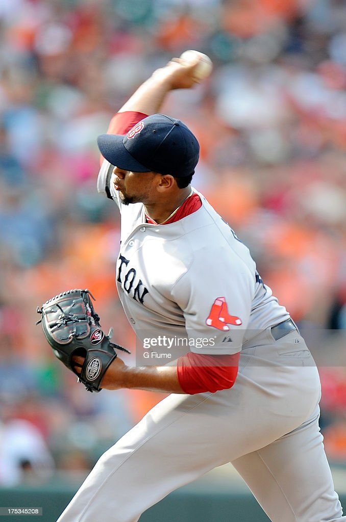 Pedro Beato of the Boston Red Sox pitches against the Baltimore Orioles at Oriole Park at Camden Yards on July 28 2013 in Baltimore Maryland
