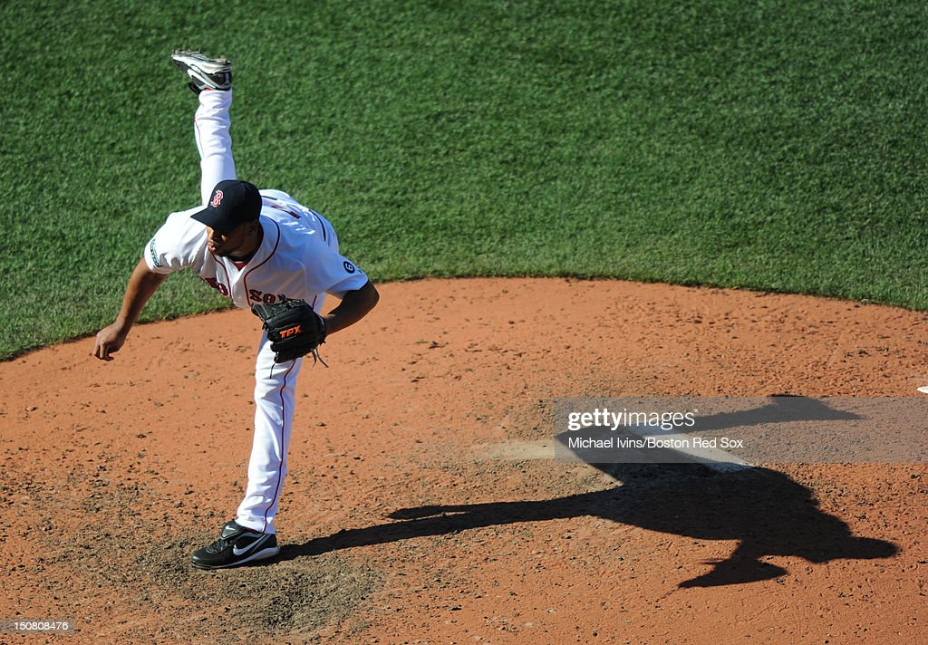 Pedro Beato of the Boston Red Sox pitches against the Kansas City Royals in the seventh inning on August 26 2012 at Fenway Park in Boston...
