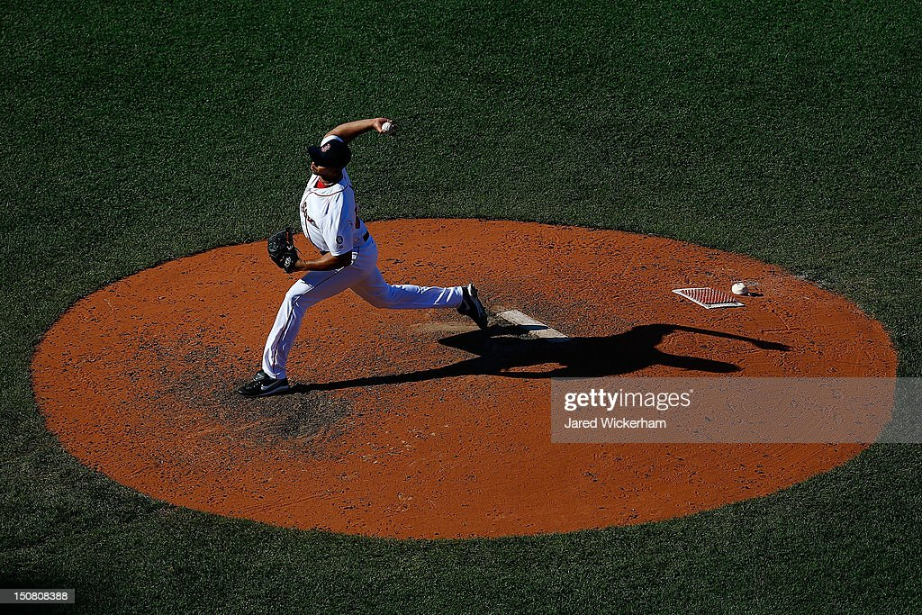 Pedro Beato of the Boston Red Sox pitches against the Kansas City Royals during the game on August 26 2012 at Fenway Park in Boston Massachusetts