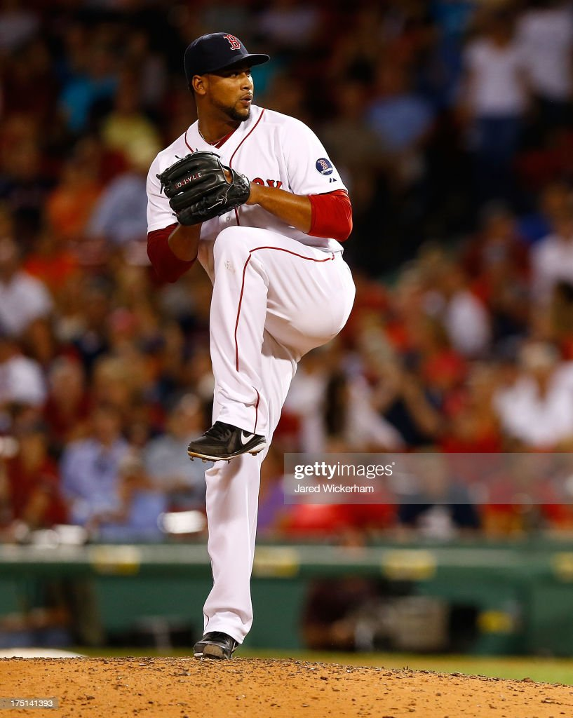 Pedro Beato of the Boston Red Sox pitches against the Seattle Mariners during the game on July 30 2013 at Fenway Park in Boston Massachusetts