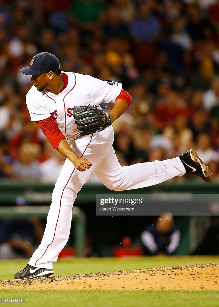 Pedro Beato of the Boston Red Sox pitches against the Tampa Bay Rays during the game on July 24 2013 at Fenway Park in Boston Massachusetts