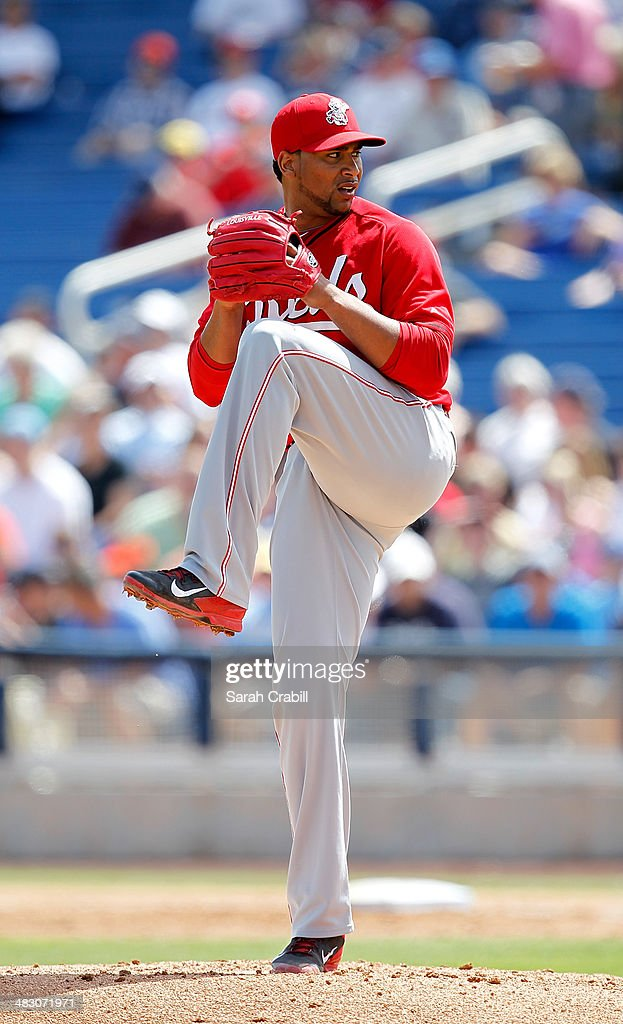 Pedro Beato of the Cincinnati Reds pitches during a game against the Milwaukee Brewers at Maryvale Baseball Park on March 27 2014 in Phoenix Arizona