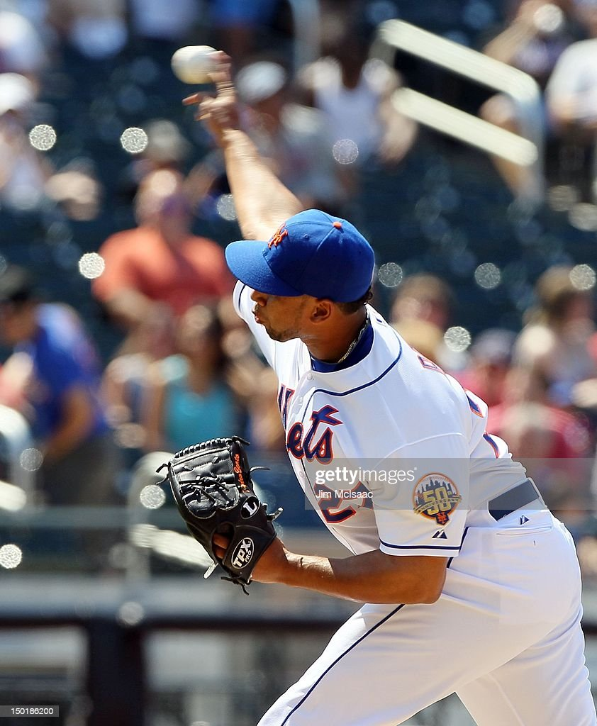 Pedro Beato of the New York Mets in action against the Chicago Cubs at Citi Field on July 8 2012 in the Flushing neighborhood of the Queens borough...
