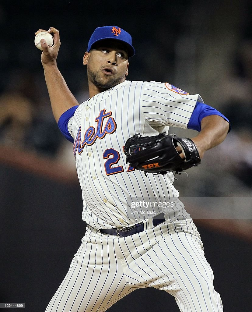 Pedro Beato of the New York Mets in action against the Washington Nationals at Citi Field on September 13 2011 in the Flushing neighborhood of the...