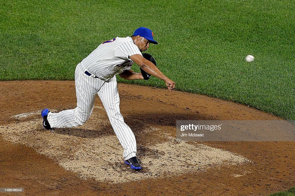 Pedro Beato of the New York Mets in action against the Washington Nationals at Citi Field on July 23 2012 in the Flushing neighborhood of the Queens...