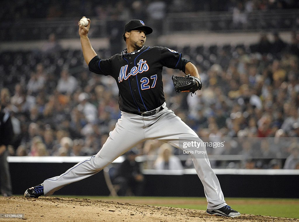 Pedro Beato of the New York Mets pitches during the eighth inning of a baseball game against the San Diego Padres at Petco Park on August 16 2011 in...