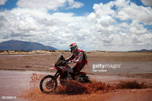 Pedro Bianchi Prata of Portugal and Honda rides a CRF450R Rally Honda bike in the Classe 22 Marathon during stage seven of the 2017 Dakar Rally...
