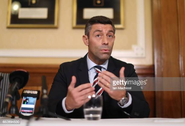 Pedro Caixinha attends a press conference as he is unveiled as the new manager of Rangers at Ibrox Stadium on March 13 2017 in Glasgow Scotland