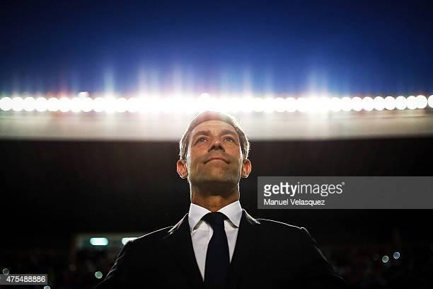 Pedro Caixinha coach of Santos looks on during a championship second leg match between Queretaro and Santos Laguna as part of Clausura 2015 Liga MX...