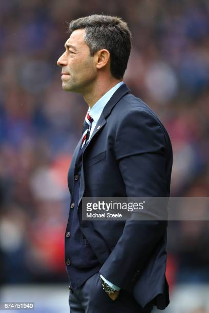 Pedro Caixinha manager of Rangers looks on during the Ladbrokes Scottish Premiership match between Rangers and Celtic at Ibrox Stadium on April 29...