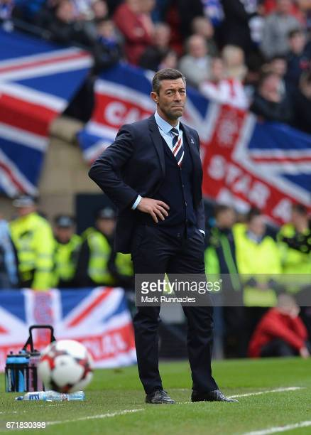 Pedro Caixinha manager of Rangers looks on during the Scottish Cup SemiFinal match between Celtic and Rangers at Hampden Park on April 23 2017 in...
