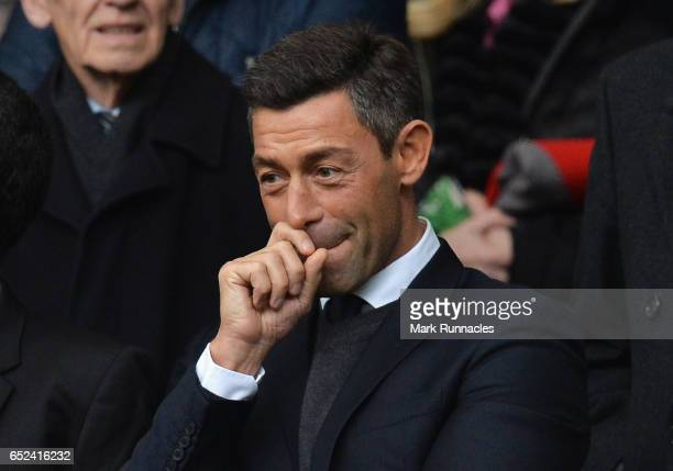 Pedro Caixinha Newly appointed manager of Rangers is seen in the stands prior to the Ladbrokes Scottish Premiership match between Celtic and Rangers...