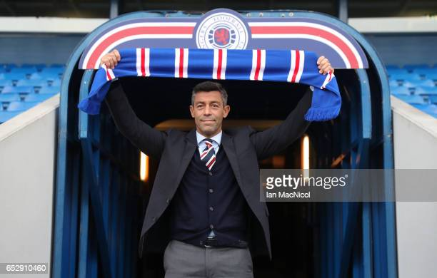 Pedro Caixinha poses at the tunnel after he is unveiled as the new manager of Rangers at Ibrox Stadium on March 13 2017 in Glasgow Scotland